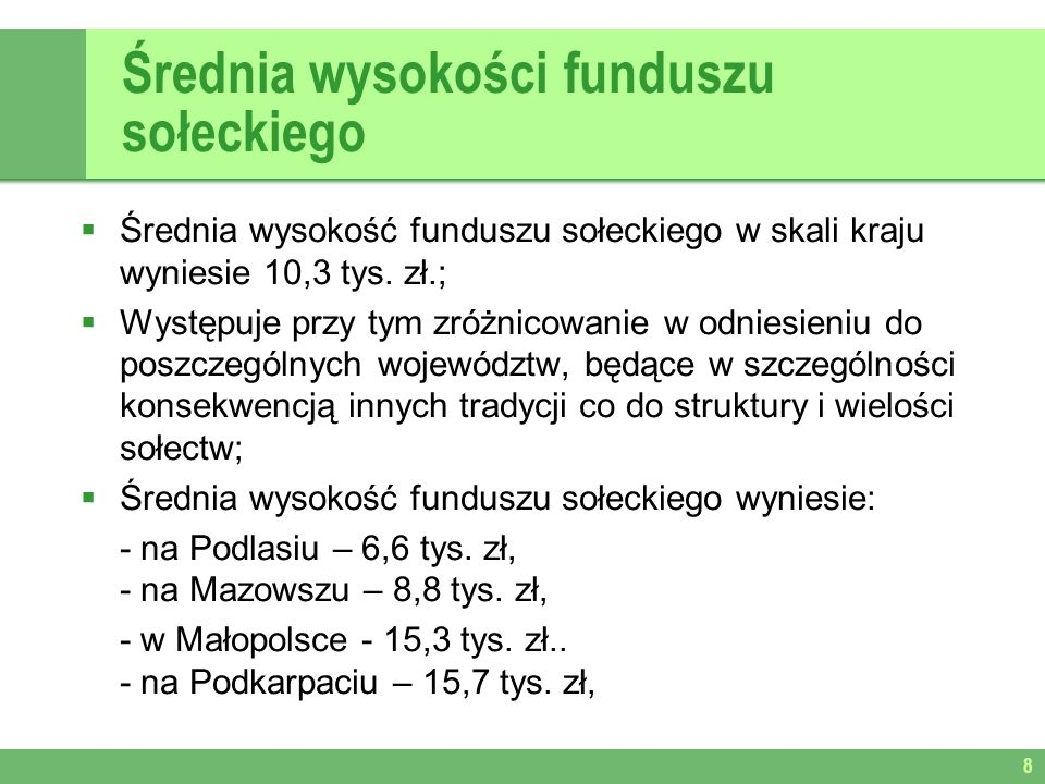 Średnia wysokości funduszu sołeckiego