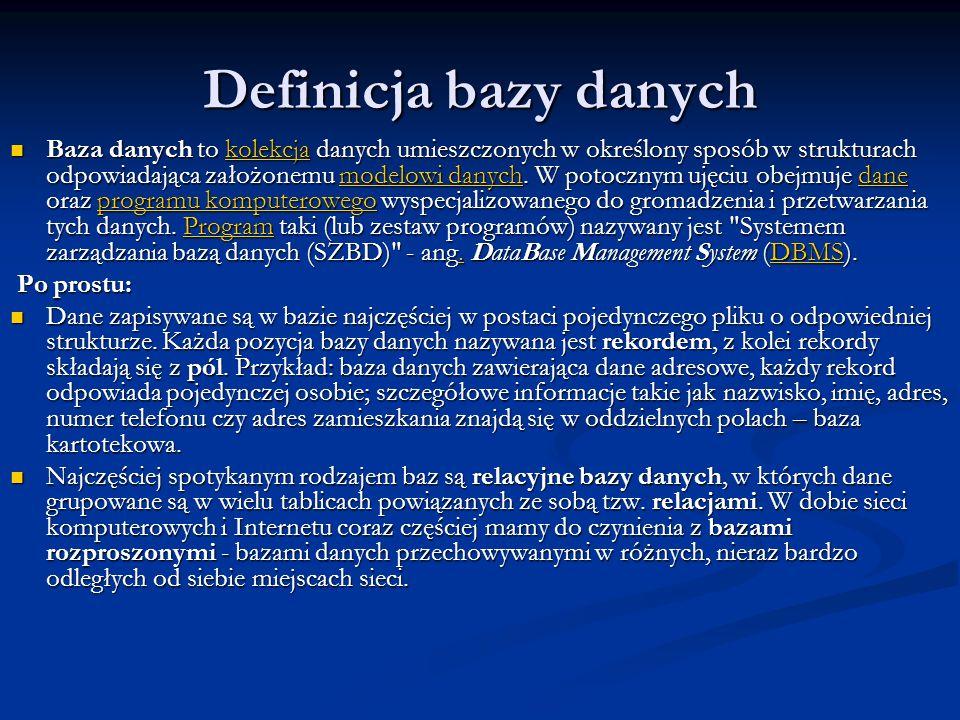 Definicja bazy danych