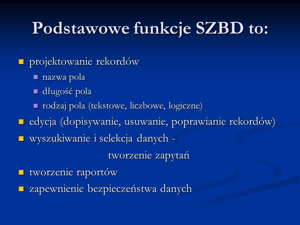 Podstawowe funkcje SZBD to: