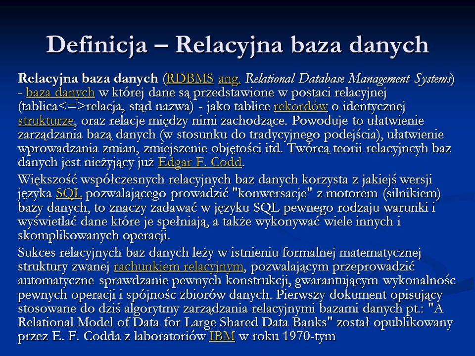 Definicja – Relacyjna baza danych