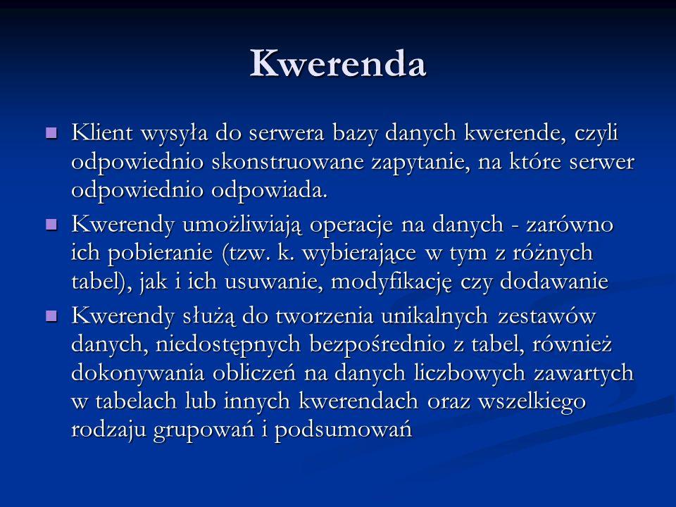 Kwerenda Klient wysyła do serwera bazy danych kwerende, czyli odpowiednio skonstruowane zapytanie, na które serwer odpowiednio odpowiada.