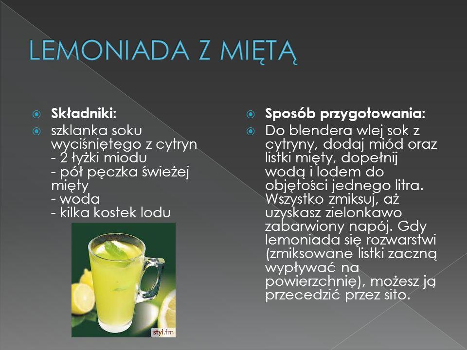 LEMONIADA Z MIĘTĄ Składniki: