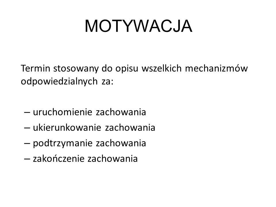 MOTYWACJA Termin stosowany do opisu wszelkich mechanizmów odpowiedzialnych za: uruchomienie zachowania.