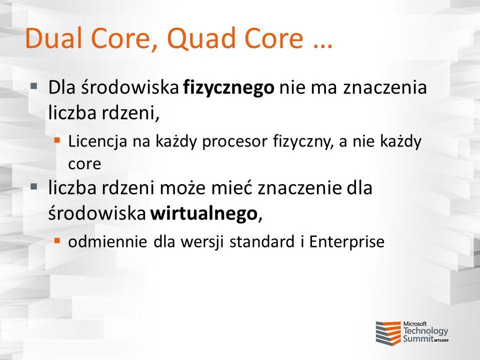 Dual Core, Quad Core … Dla środowiska fizycznego nie ma znaczenia liczba rdzeni, Licencja na każdy procesor fizyczny, a nie każdy core.