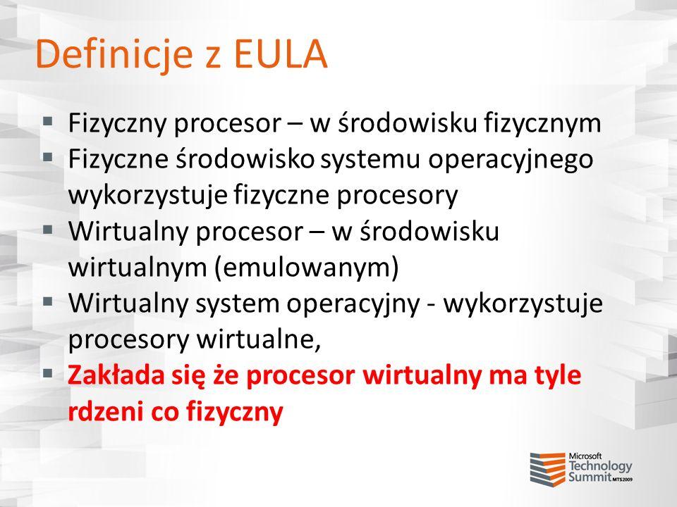 Definicje z EULA Fizyczny procesor – w środowisku fizycznym