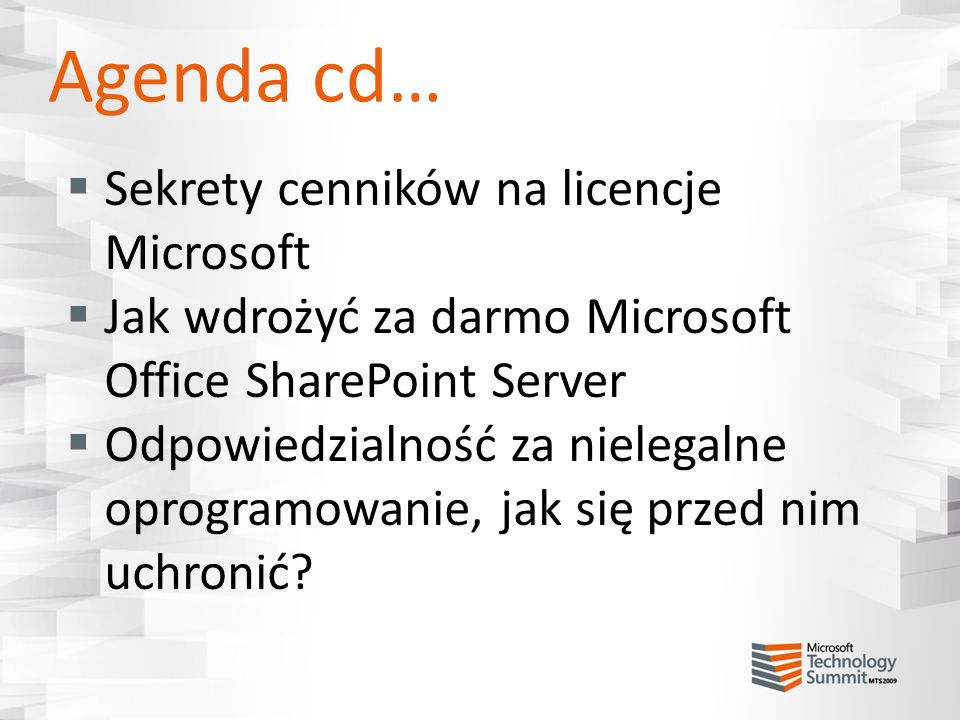 Agenda cd… Sekrety cenników na licencje Microsoft