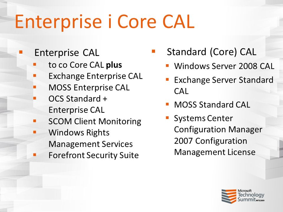 Enterprise i Core CAL Enterprise CAL Standard (Core) CAL