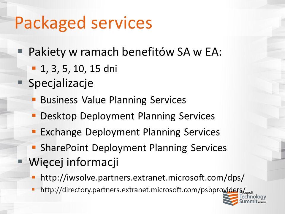 Packaged services Pakiety w ramach benefitów SA w EA: Specjalizacje