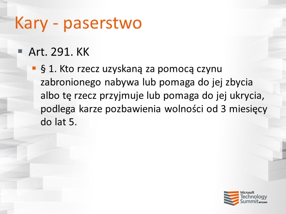 Kary - paserstwo Art. 291. KK.