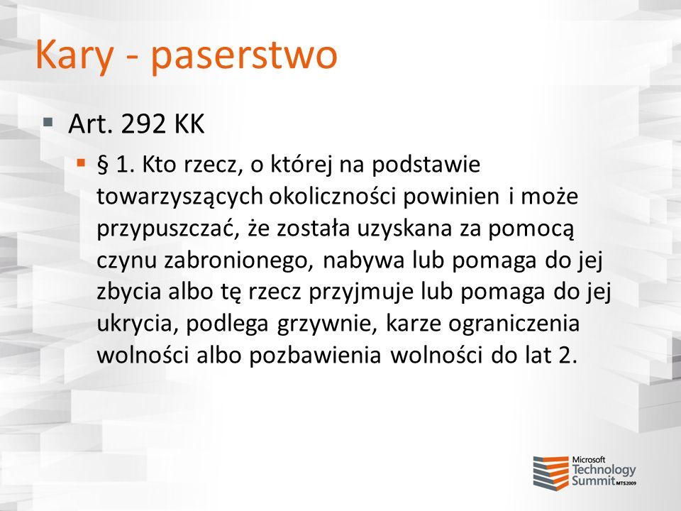 Kary - paserstwo Art. 292 KK.