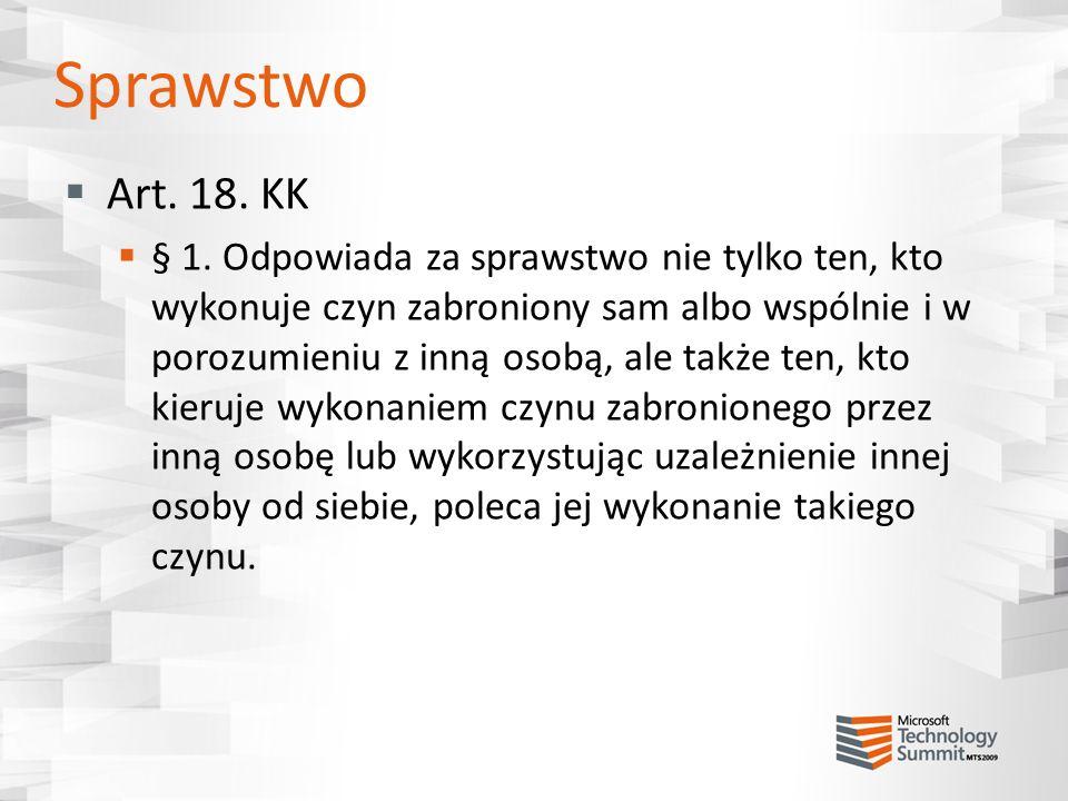 Sprawstwo Art. 18. KK.