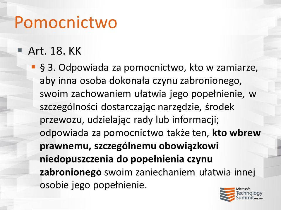 Pomocnictwo Art. 18. KK.