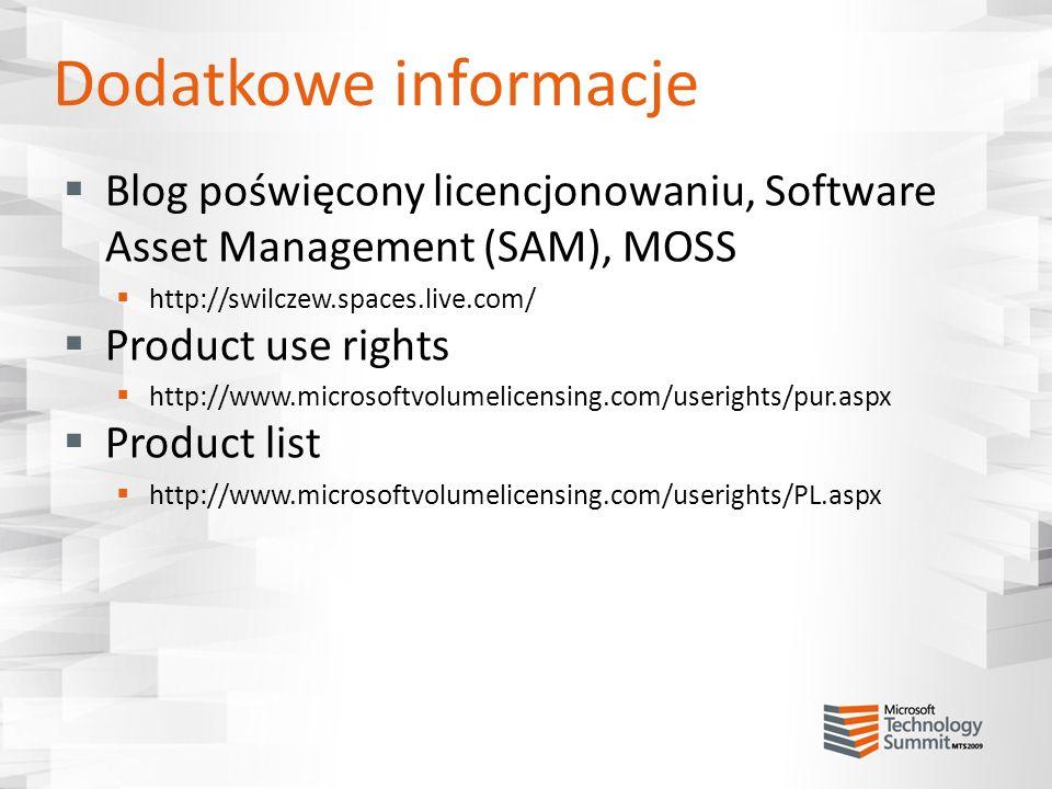 Dodatkowe informacje Blog poświęcony licencjonowaniu, Software Asset Management (SAM), MOSS. http://swilczew.spaces.live.com/