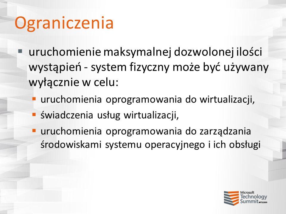 Ograniczenia uruchomienie maksymalnej dozwolonej ilości wystąpień - system fizyczny może być używany wyłącznie w celu: