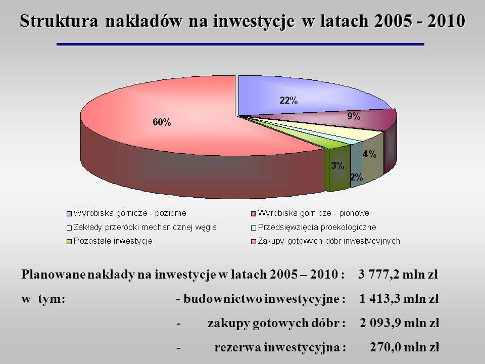 Struktura nakładów na inwestycje w latach 2005 - 2010