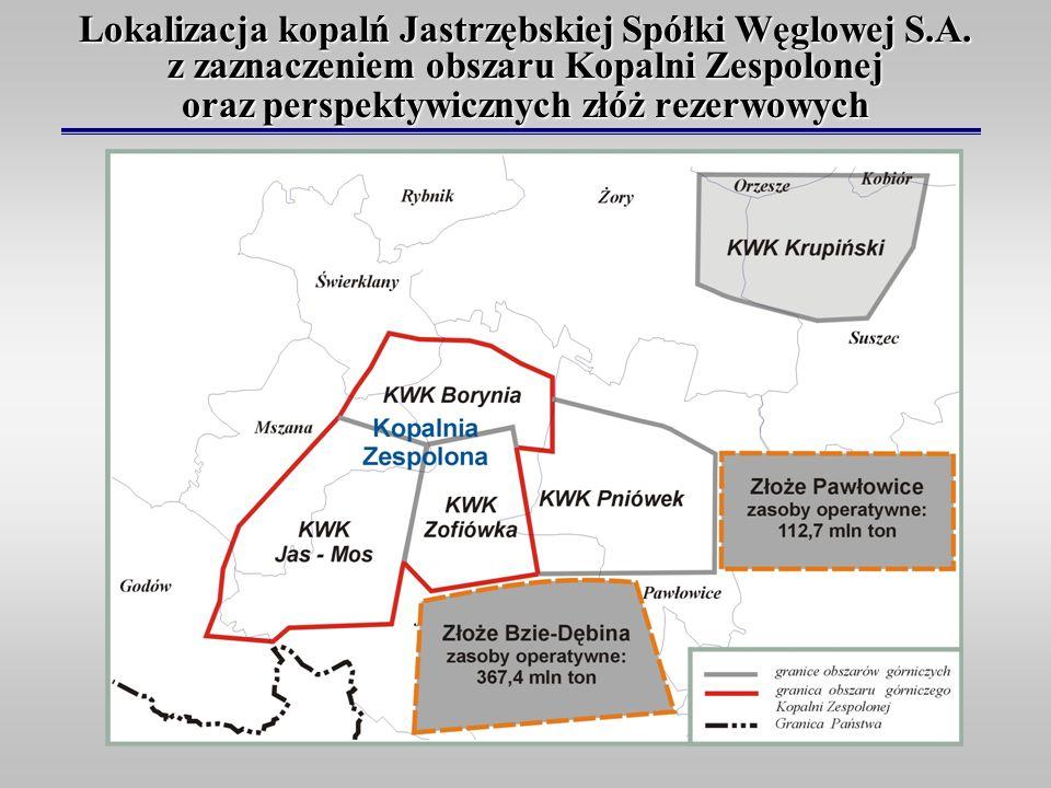Lokalizacja kopalń Jastrzębskiej Spółki Węglowej S. A