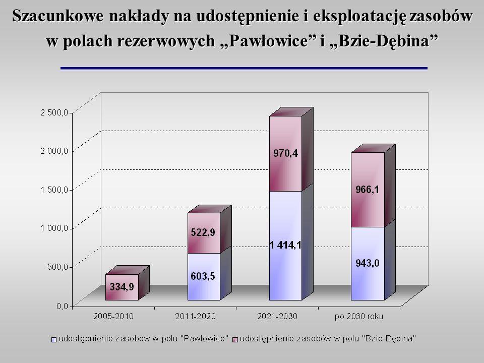 """Szacunkowe nakłady na udostępnienie i eksploatację zasobów w polach rezerwowych """"Pawłowice i """"Bzie-Dębina"""