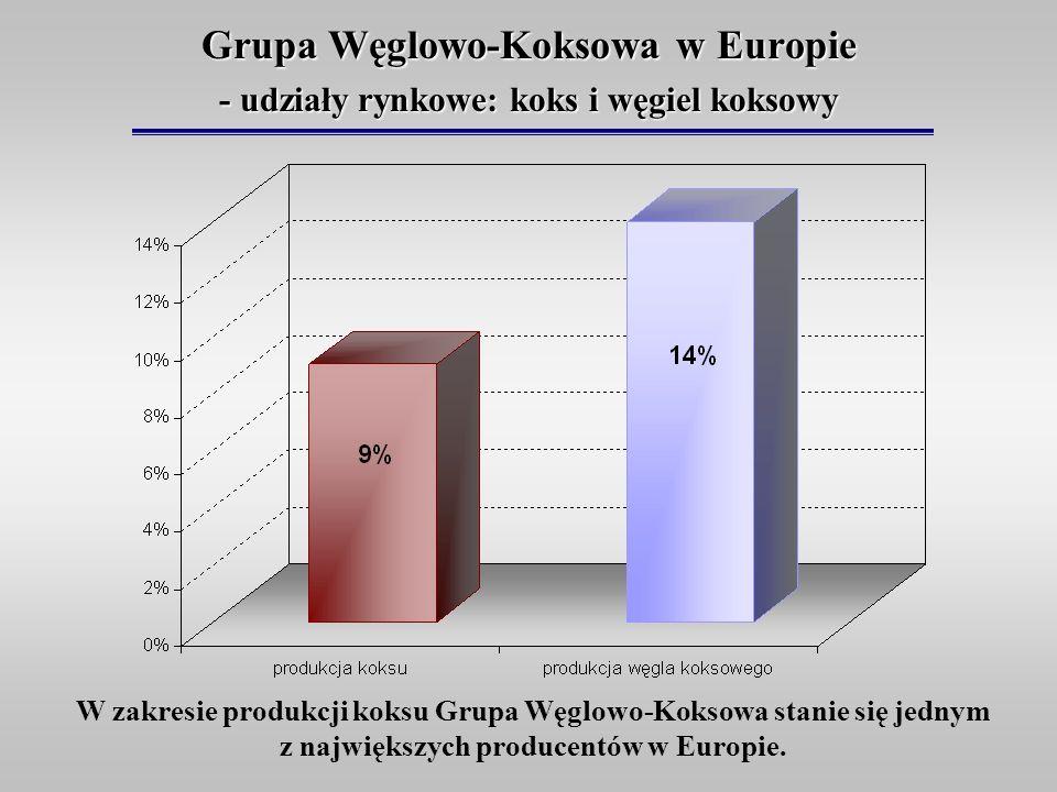 Grupa Węglowo-Koksowa w Europie - udziały rynkowe: koks i węgiel koksowy