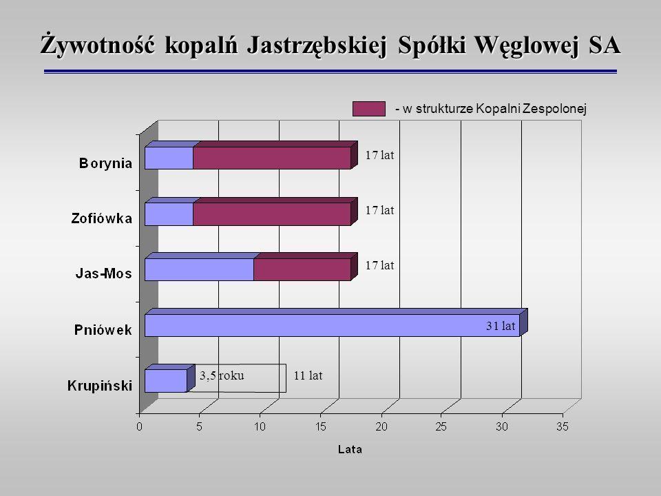 Żywotność kopalń Jastrzębskiej Spółki Węglowej SA