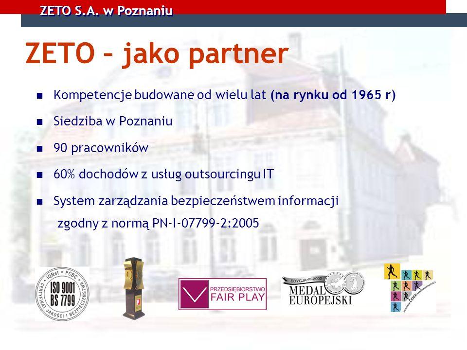 ZETO – jako partner Kompetencje budowane od wielu lat (na rynku od 1965 r) Siedziba w Poznaniu. 90 pracowników.