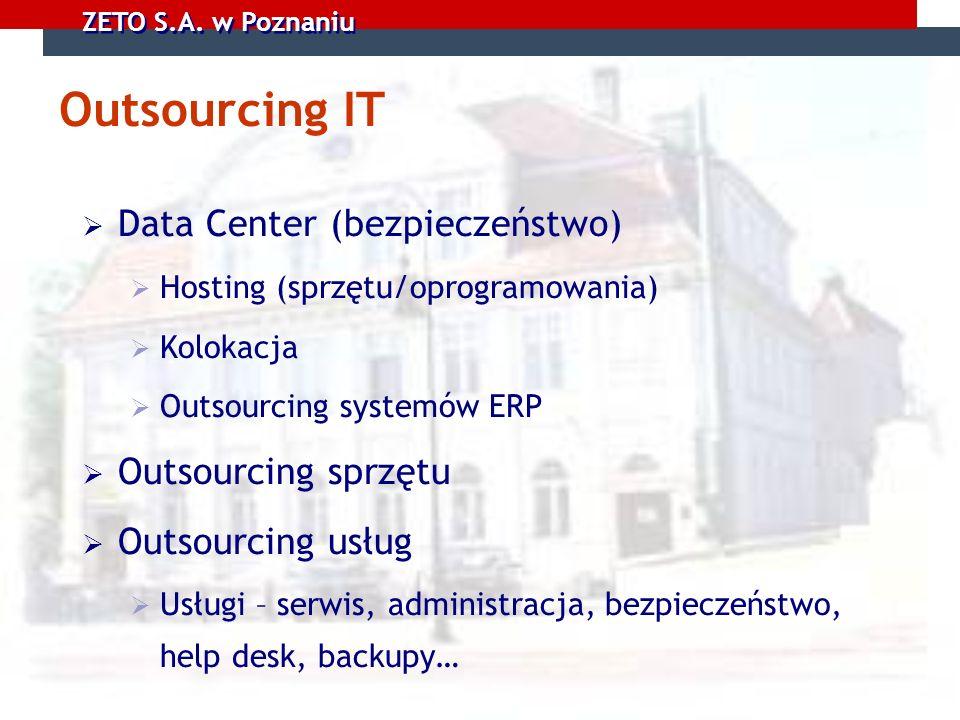 Outsourcing IT Data Center (bezpieczeństwo) Outsourcing sprzętu