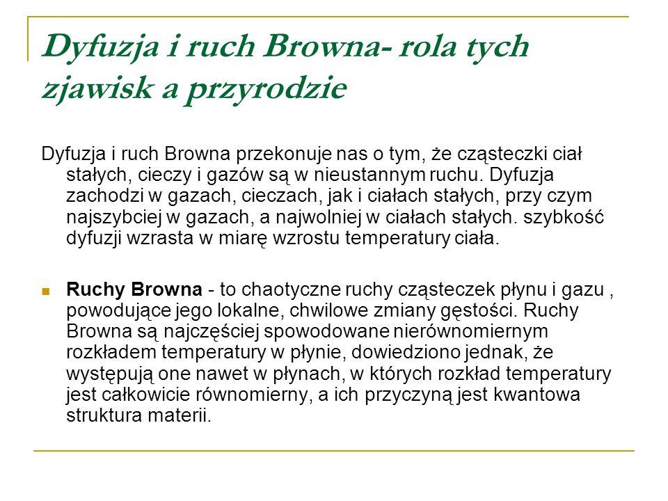 Dyfuzja i ruch Browna- rola tych zjawisk a przyrodzie