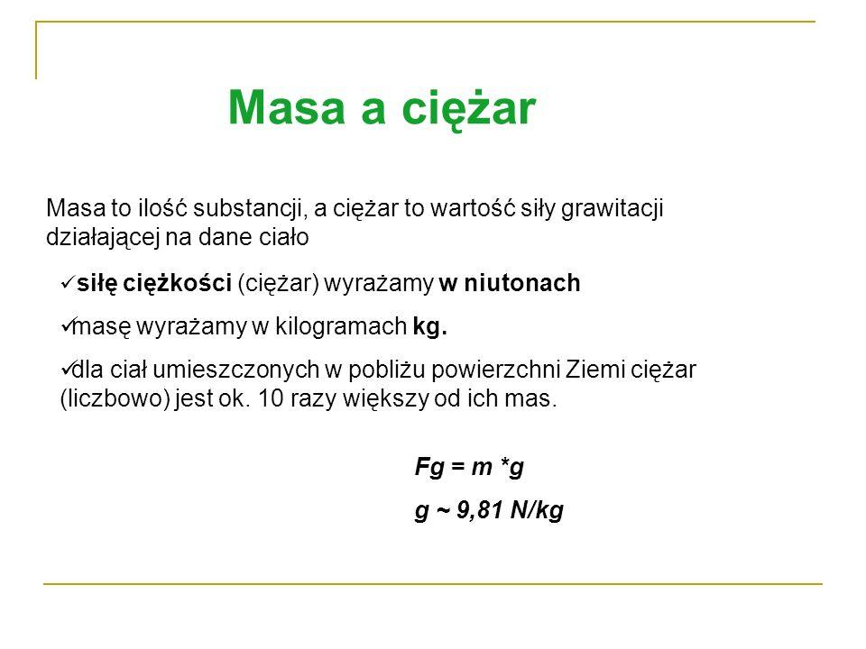 Masa a ciężar Masa to ilość substancji, a ciężar to wartość siły grawitacji działającej na dane ciało.