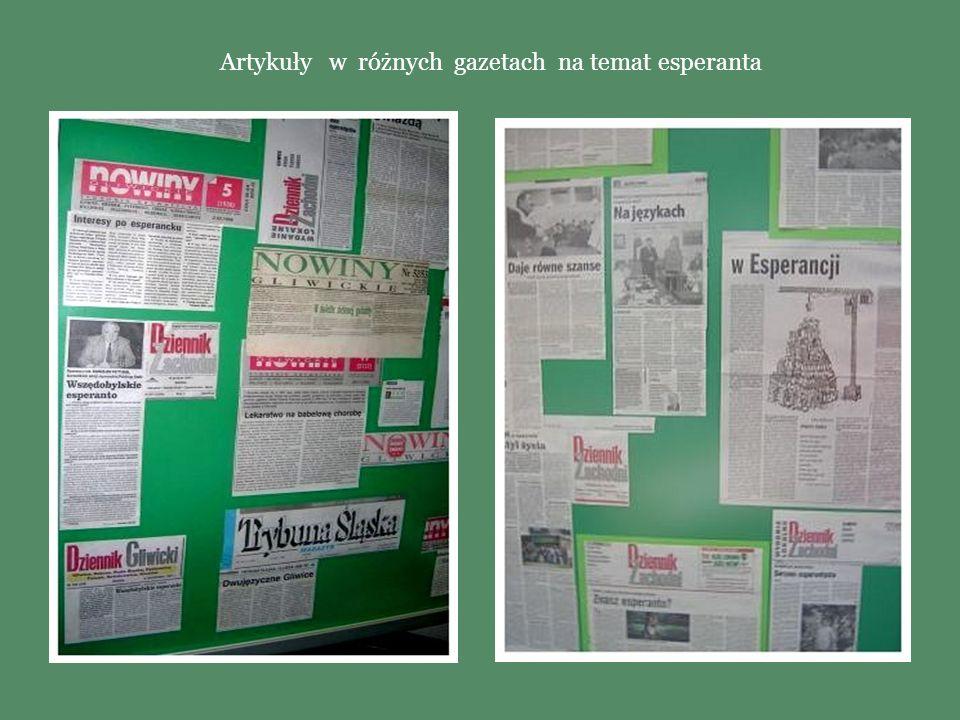 Artykuły w różnych gazetach na temat esperanta