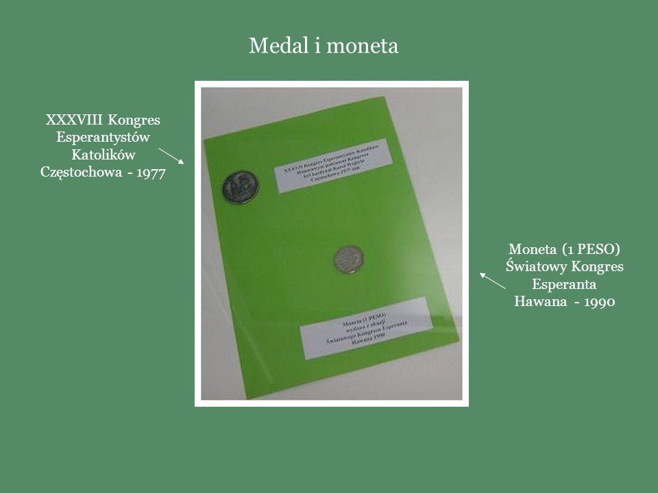 Medal i moneta XXXVIII Kongres Esperantystów Katolików Częstochowa - 1977.