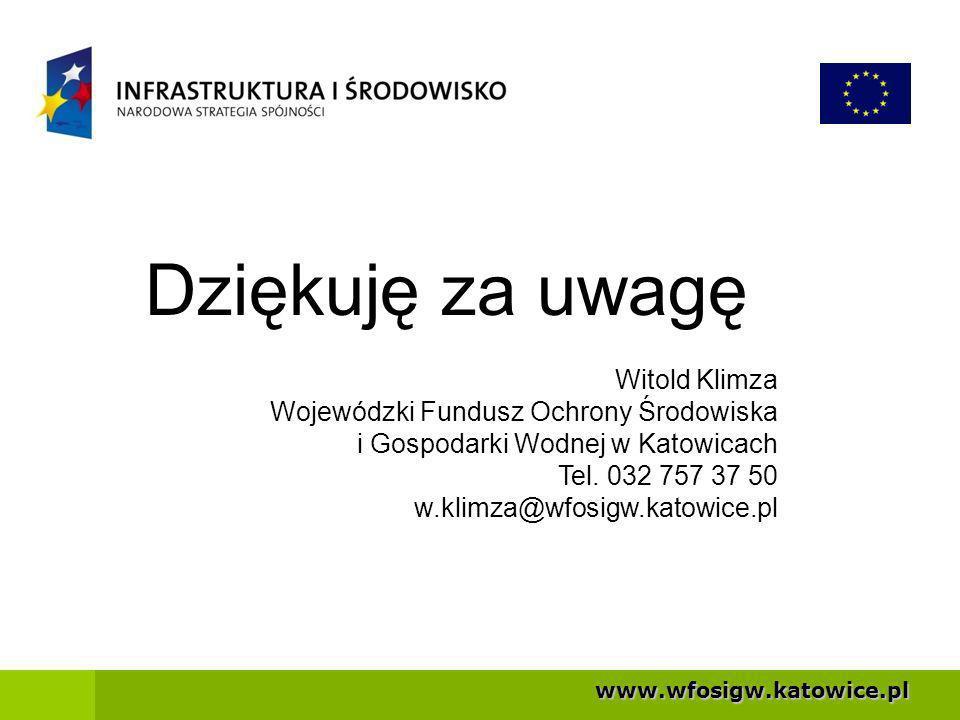 Dziękuję za uwagę Witold Klimza Wojewódzki Fundusz Ochrony Środowiska
