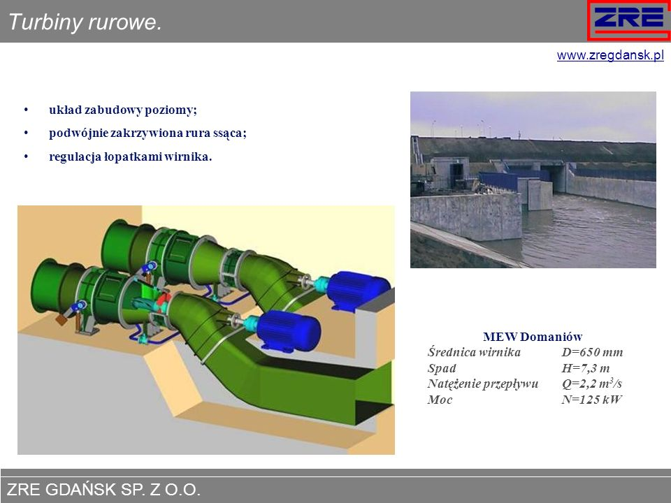 Turbiny rurowe. www.zregdansk.pl układ zabudowy poziomy;