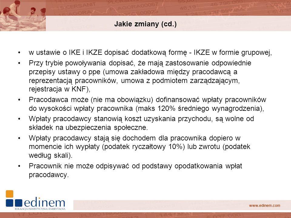 Jakie zmiany (cd.) w ustawie o IKE i IKZE dopisać dodatkową formę - IKZE w formie grupowej,