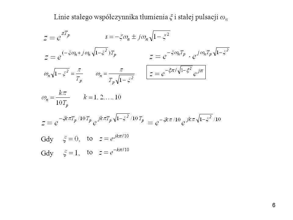 Linie stałego współczynnika tłumienia ξ i stałej pulsacji ωn