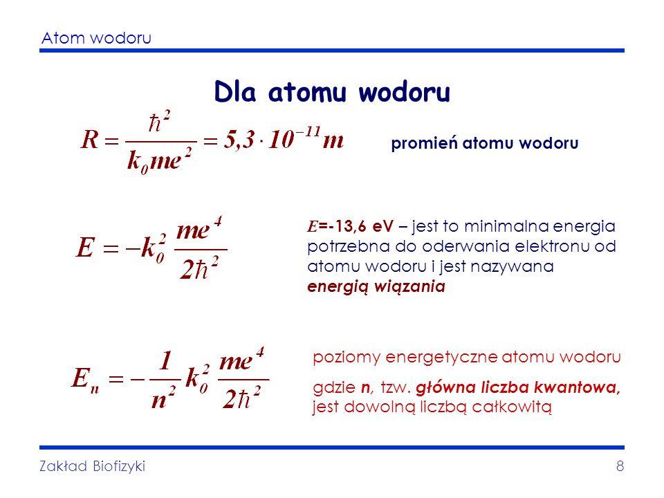 Dla atomu wodoru promień atomu wodoru
