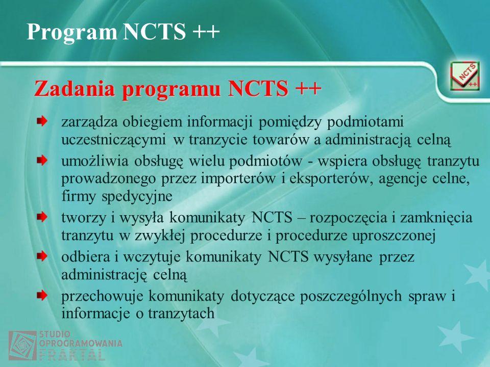 Zadania programu NCTS ++