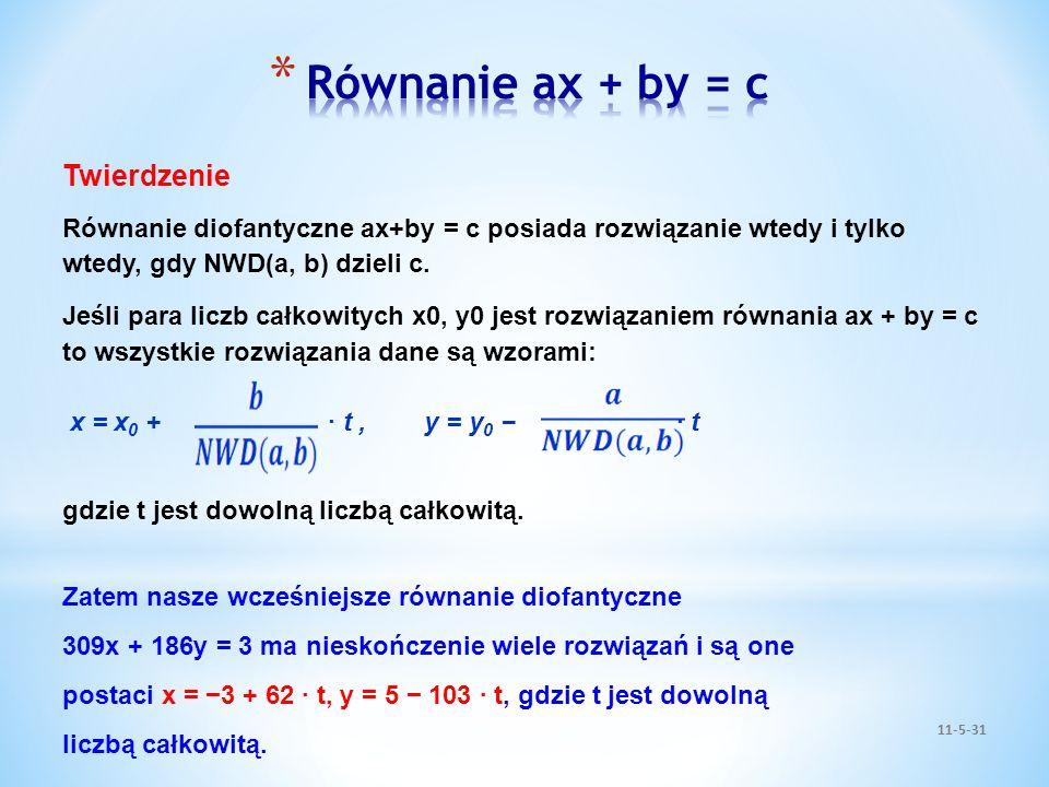 Równanie ax + by = c Twierdzenie