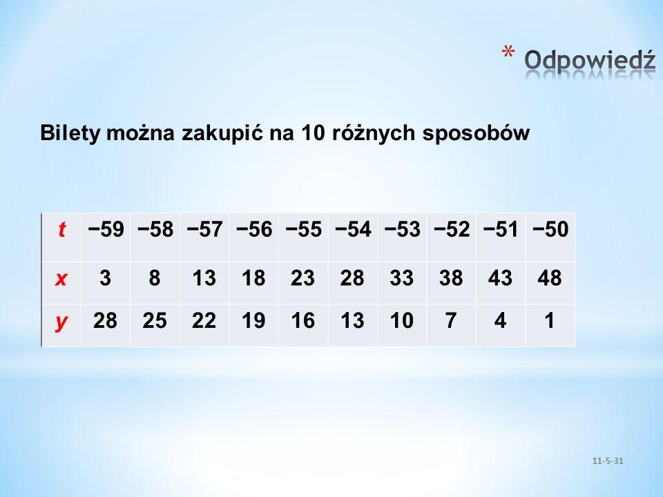 Odpowiedź Bilety można zakupić na 10 różnych sposobów t −59 −58 −57