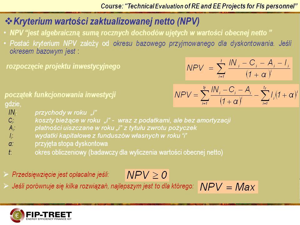 Kryterium wartości zaktualizowanej netto (NPV)