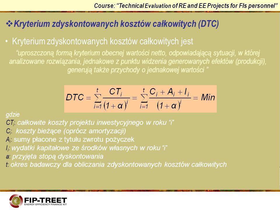 Kryterium zdyskontowanych kosztów całkowitych (DTC)