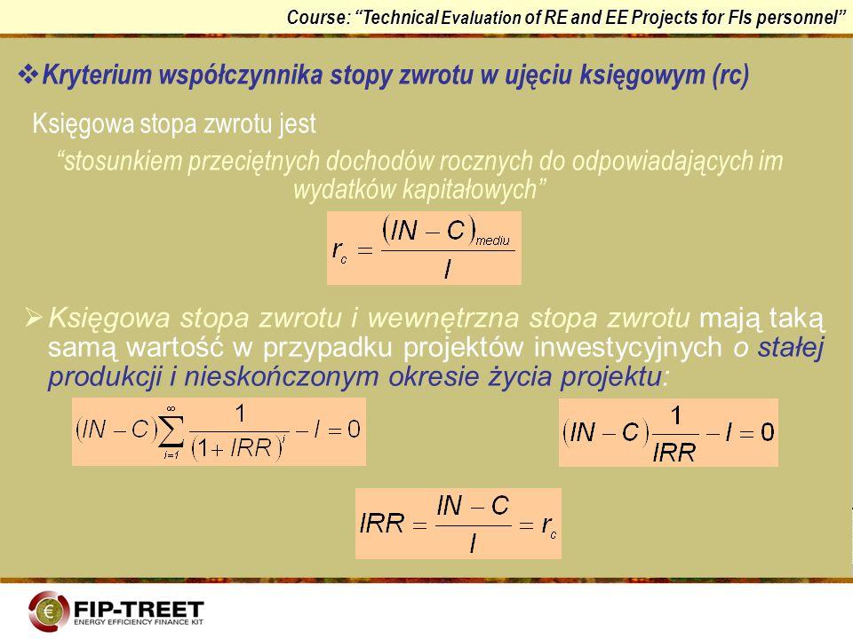 Kryterium współczynnika stopy zwrotu w ujęciu księgowym (rc)