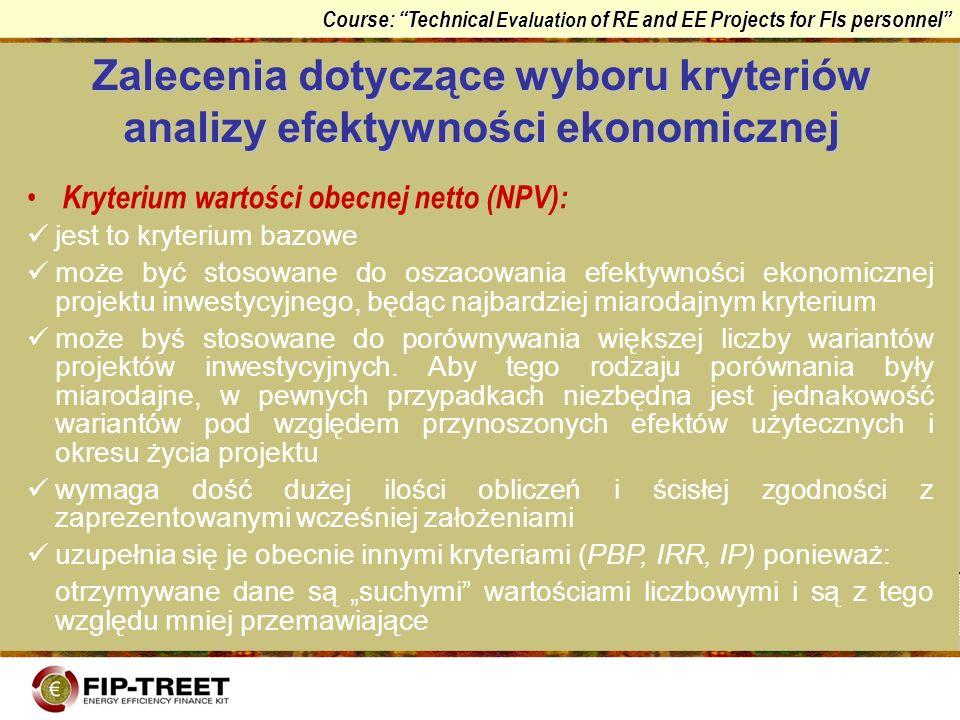 Zalecenia dotyczące wyboru kryteriów analizy efektywności ekonomicznej