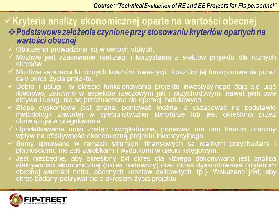 Kryteria analizy ekonomicznej oparte na wartości obecnej