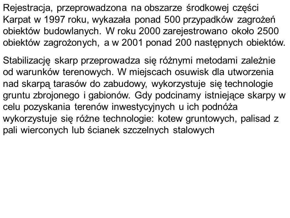 Rejestracja, przeprowadzona na obszarze środkowej części Karpat w 1997 roku, wykazała ponad 500 przypadków zagrożeń obiektów budowlanych. W roku 2000 zarejestrowano około 2500 obiektów zagrożonych, a w 2001 ponad 200 następnych obiektów.