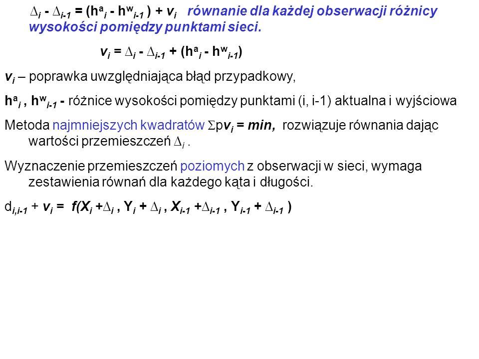 ∆i - ∆i-1 = (hai - hwi-1 ) + vi równanie dla każdej obserwacji różnicy wysokości pomiędzy punktami sieci.