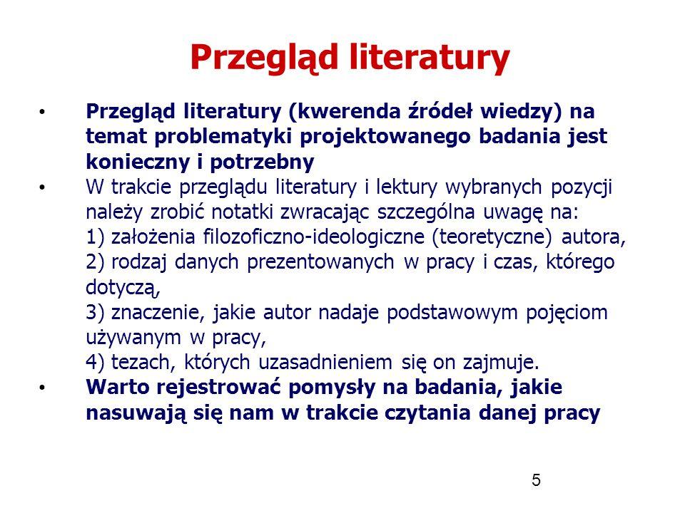 Przegląd literatury Przegląd literatury (kwerenda źródeł wiedzy) na temat problematyki projektowanego badania jest konieczny i potrzebny.