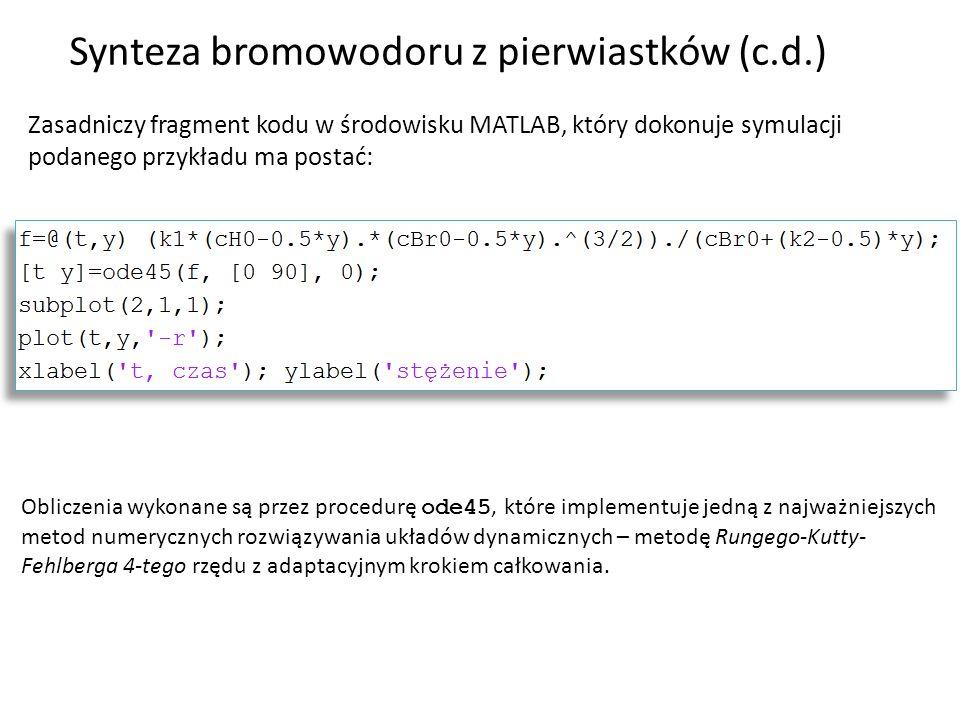 Synteza bromowodoru z pierwiastków (c.d.)