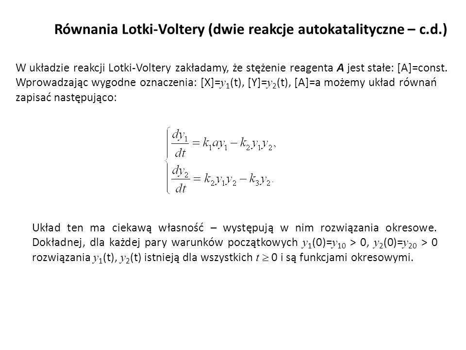 Równania Lotki-Voltery (dwie reakcje autokatalityczne – c.d.)