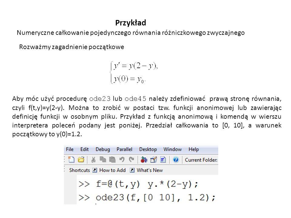 Przykład Numeryczne całkowanie pojedynczego równania różniczkowego zwyczajnego. Rozważmy zagadnienie początkowe.