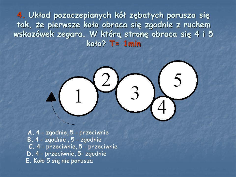 4. Układ pozaczepianych kół zębatych porusza się tak, że pierwsze koło obraca się zgodnie z ruchem wskazówek zegara. W którą stronę obraca się 4 i 5 koło T= 1min