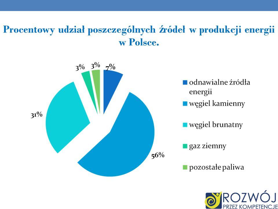 Procentowy udział poszczególnych źródeł w produkcji energii w Polsce.